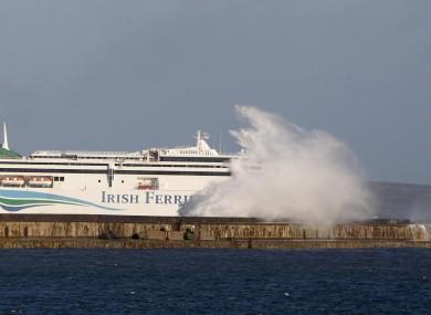 An Irish Ferries vessel sails into Holyhead.