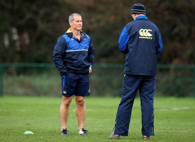 Lancaster and head coach Leo Cullen at training in UCD earlier.