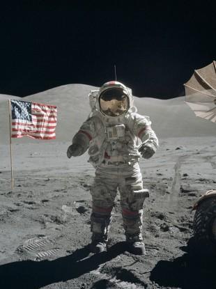 Cernan at the beginning of EVA 3 on the moon.