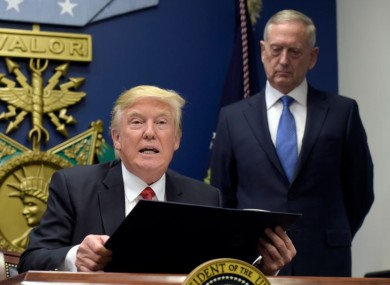 President Donald Trump with Defense Secretary James Mattis at the Pentagon in Washington on, Friday