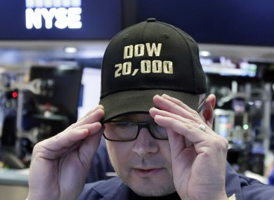 This man working on Wall Street got a special baseball cap to mark the milestone