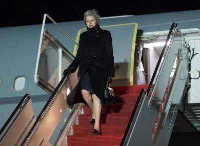 Theresa May arrives at Andrew's Air Force Base in Washington DC.