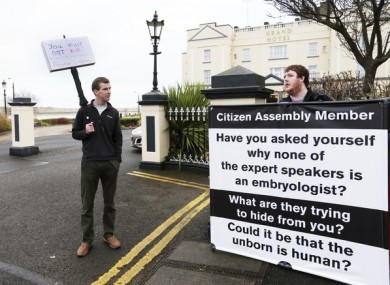 Anti-abortion activists outside the Citizens Assembly in Malahide last month.