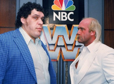 World Wrestling Federation Heavyweight Champion Hulk Hogan, right, faces off against Andre the Giant at a New York press conference in 1988.