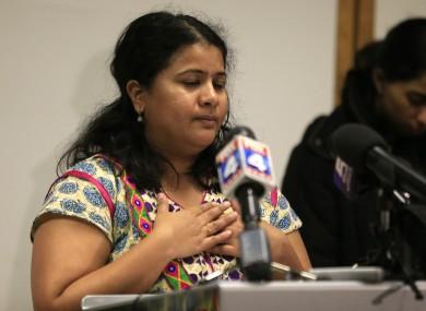 Sunayana Dumala holds her heart while talking about her late husband, Srinivas Kuchibhotla.