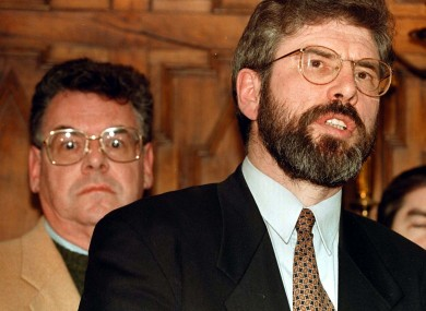 Sinn Fein leader Gerry Adams after meeting a delegation of American politicians, including Congressman Peter King (background) from New York during their one day visit to Northern Ireland in 1997.