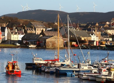 The town of Scalloway on Shetland Islands.