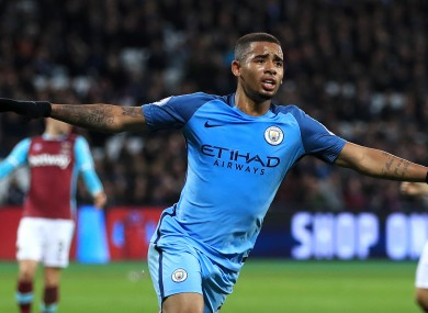 Manchester City's Gabriel Jesus celebrates scoring his side's third goal.