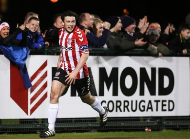 Derry's Barry McNamee celebrates a goal (file pic).