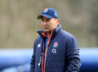 Eddie Jones watches over his squad's session at Pennyhill Park.