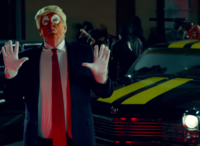 'Ronald Klump' being shot by Snoop Dogg in the new video.