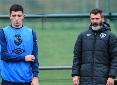 Brian Lenihan trains under the watchful eye of assistant manager Roy Keane after his call-up to the Republic of Ireland senior squad in 2014.
