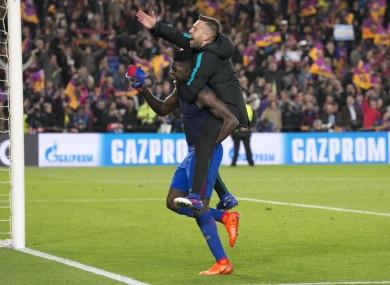 Barcelona's Samuel Umtiti and Jordi Alba celebrate after last night's match.