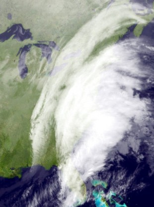 Satellite image showing the east coast of the US.