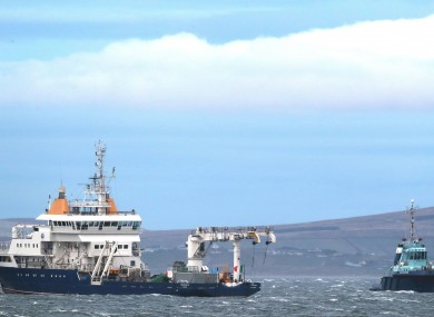 The Granuaile (left) alongside the tug Ocean Challenger during an earlier search.
