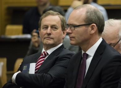 Taoiseach Enda Kenny and Simon Coveney, Minister for Housing, Planning, Community and Local Development.