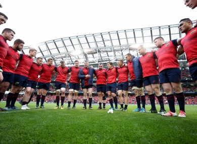 The Munster players in a huddle after Saturday's Champions Cup semi-final defeat to Saracens at the Aviva Stadium.