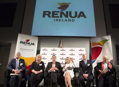 Renua party leader, John Leahy, alongside Mailo Power, Eddie Hobbs Ronan McMahon and Jonathan Irwin, CEO of the Jack and Jill Foundation at the launch of their party in 2015.
