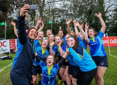 Spence takes a selfie with her DCU team at a recent 7s tournament.