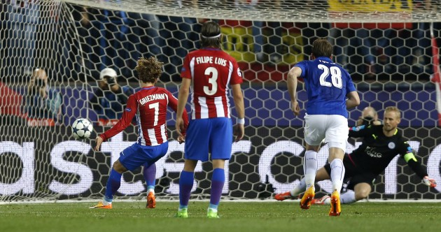 Penalty-shy Griezmann spot on, but controversy as Atletico beat Leicester