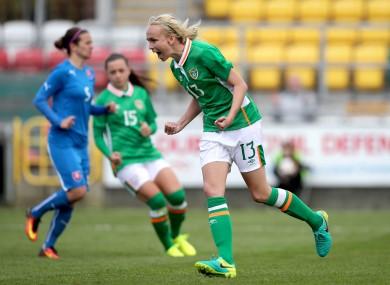 Stephanie Roche celebrates her goal.