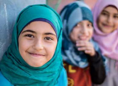 Syrian children living in an informal settlement in Lebanon.