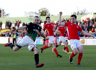 Bray's Dylan Connolly and Michael Barker of St Patrick's Athletic.
