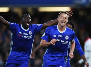 John Terry celebrates after handing Chelsea the lead against Watford