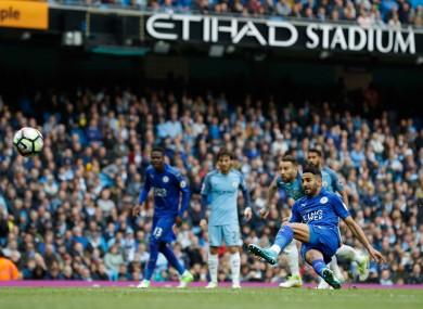 Mahrez touches the ball twice while scoring his penalty.