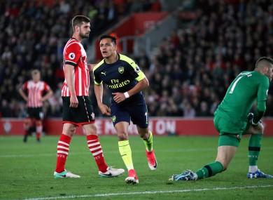 Arsenal striker Alexis Sanchez opens the scoring against Southampton.