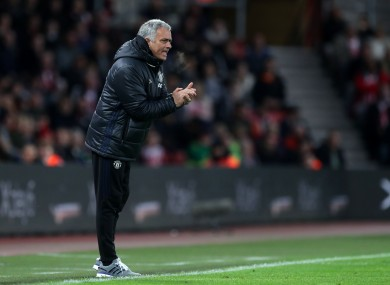 Manchester United manager Jose Mourinho during the Premier League match at St Mary's, Southampton.