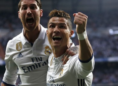 Ronaldo celebrates scoring against Atletico.
