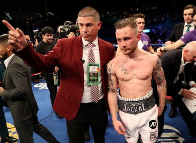 Carl Frampton after his defeat to Leo Santa Cruz in Las Vegas in January.