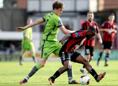 Fuad Sule holds off Jake Hyland of Drogheda United.