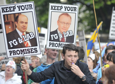 Protesters rally against the downgrading of Roscommon Hospital in 2011.