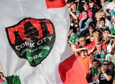 Cork City supporters in the Joe Delaney stand during last night's clash with AEK Larnaca at Turner's Cross.