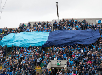 The flag is displayed by Dublin supporters before games in Croke Park.