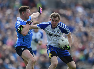Dublin's Philly McMahon tackling Jack McCarron of Monaghan in a National League game earlier this year.