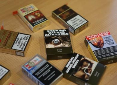 Plain packaging cigarette packets.