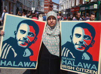 Fatima Halawa, Ibrahim Halawa's sister, pictured on Grafton Street in May 2016  on her brother's 1,000th day in prison.