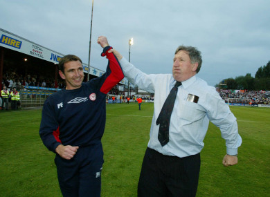 Fenlon celebrates the Champions League win over Hajduk Split with Shels owner Ollie Byrne.