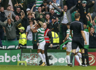 Celtic's Scott Sinclair celebrates scoring in the game in question.