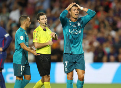 75c435668 Ronaldo handed five-game ban after pushing referee · The42
