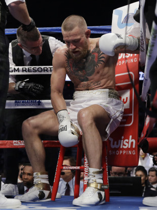 Conor McGregor in his corner between rounds during Saturday night's fight against Floyd Mayweather in Las Vegas.