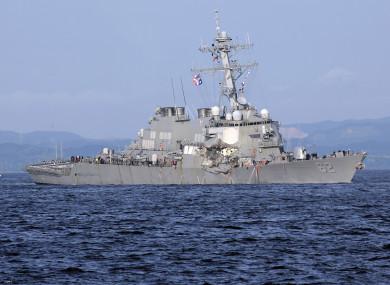 The damaged USS Fitzgerald near the U.S. Naval base in Yokosuka, southwest of Tokyo.