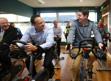 Taoiseach Leo Varadkar and Minister Paschal Donohoe during the National Physical Activity Plan launch.