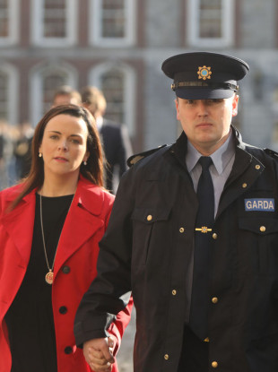 Garda whistleblower Keith Harrison and his partner Marisa Simms arriving at the Disclosures Tribunal in Dublin Castle today