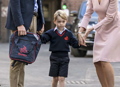 Prince George on his first day of school last week.