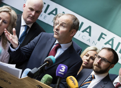 Fianna Fáil's Micheal Martin speaking to reporters in Longford today ahead of the party's think-in.
