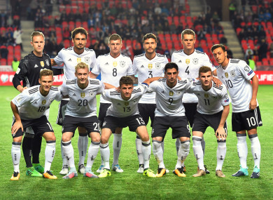 The Germanty team pose for a photo ahead of their game with Czech Republic.